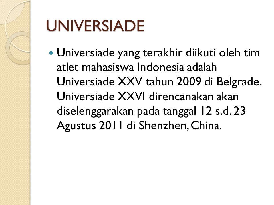 UNIVERSIADE Universiade yang terakhir diikuti oleh tim atlet mahasiswa Indonesia adalah Universiade XXV tahun 2009 di Belgrade.