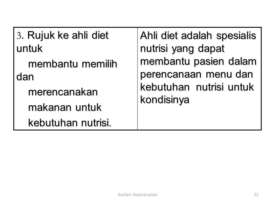 Asuhan Keperawatan32 3. Rujuk ke ahli diet untuk membantu memilih dan membantu memilih dan merencanakan merencanakan makanan untuk makanan untuk kebut