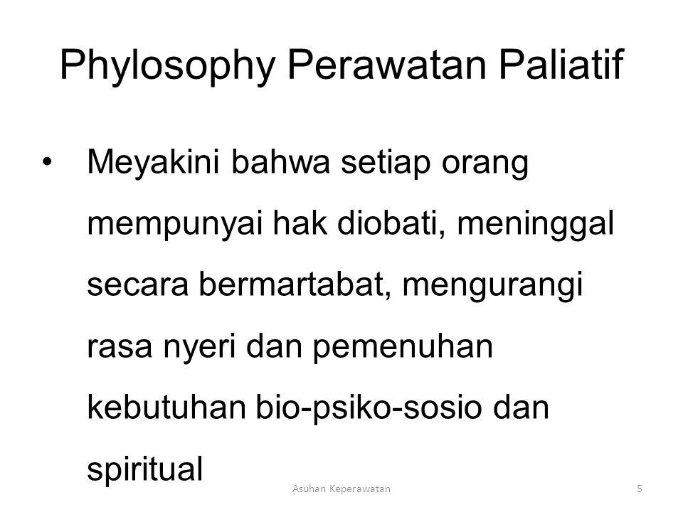 Asuhan Keperawatan5 Phylosophy Perawatan Paliatif Meyakini bahwa setiap orang mempunyai hak diobati, meninggal secara bermartabat, mengurangi rasa nye