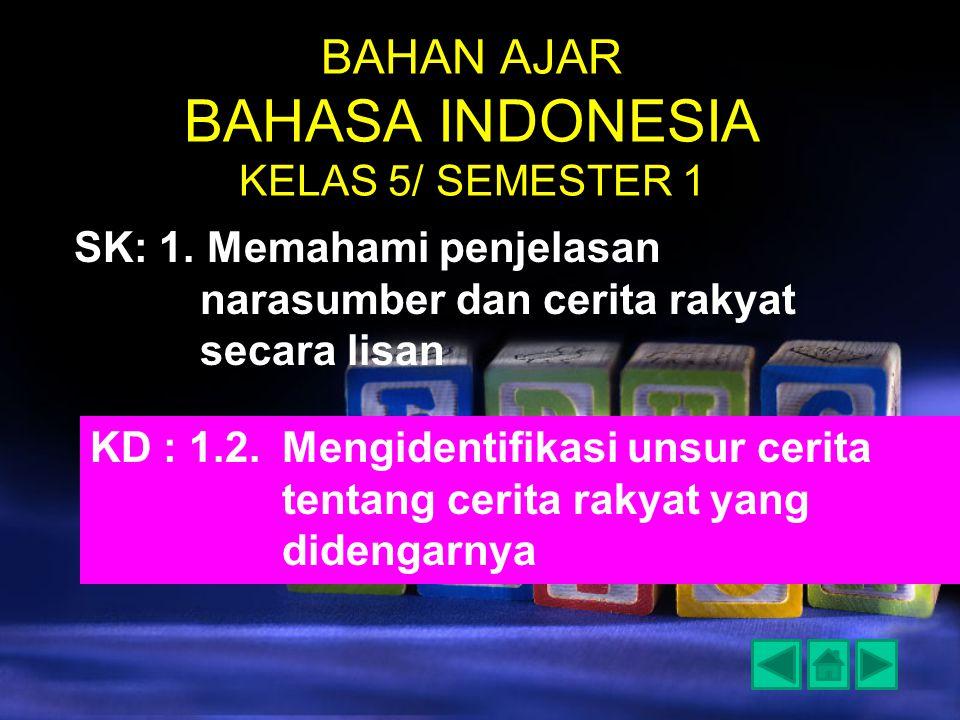 BAHAN AJAR BAHASA INDONESIA KELAS 5/ SEMESTER 1 SK: 1. Memahami penjelasan narasumber dan cerita rakyat secara lisan KD : 1.2.Mengidentifikasi unsur c