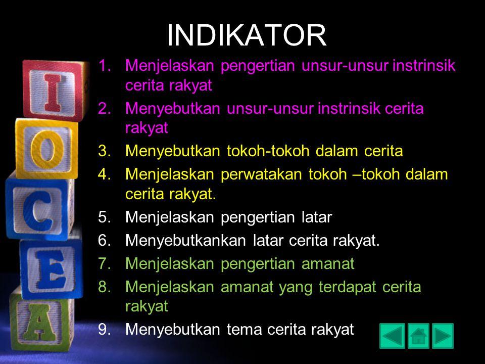 INDIKATOR 1.Menjelaskan pengertian unsur-unsur instrinsik cerita rakyat 2.Menyebutkan unsur-unsur instrinsik cerita rakyat 3.Menyebutkan tokoh-tokoh d
