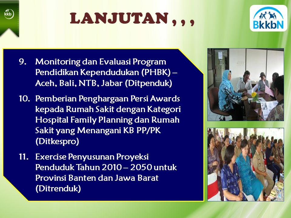 LANJUTAN,,, 9.Monitoring dan Evaluasi Program Pendidikan Kependudukan (PHBK) – Aceh, Bali, NTB, Jabar (Ditpenduk) 10.Pemberian Penghargaan Persi Awards kepada Rumah Sakit dengan Kategori Hospital Family Planning dan Rumah Sakit yang Menangani KB PP/PK (Ditkespro) 11.Exercise Penyusunan Proyeksi Penduduk Tahun 2010 – 2050 untuk Provinsi Banten dan Jawa Barat (Ditrenduk)