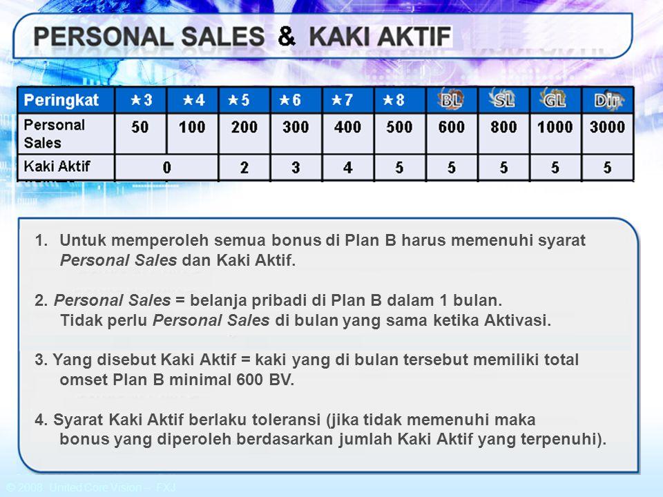 © 2008 United Core Vision – FXJ 1.Untuk memperoleh semua bonus di Plan B harus memenuhi syarat Personal Sales dan Kaki Aktif. 2. Personal Sales = bela