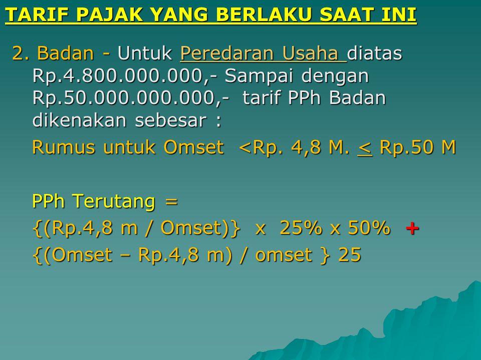 TARIF PAJAK YANG BERLAKU SAAT INI 1. Rumus untuk Omset s/d Rp. 4,8 M. 1. Rumus untuk Omset s/d Rp. 4,8 M. Omset s/d Rp. 4,8 Milyar Omset s/d Rp. 4,8 M
