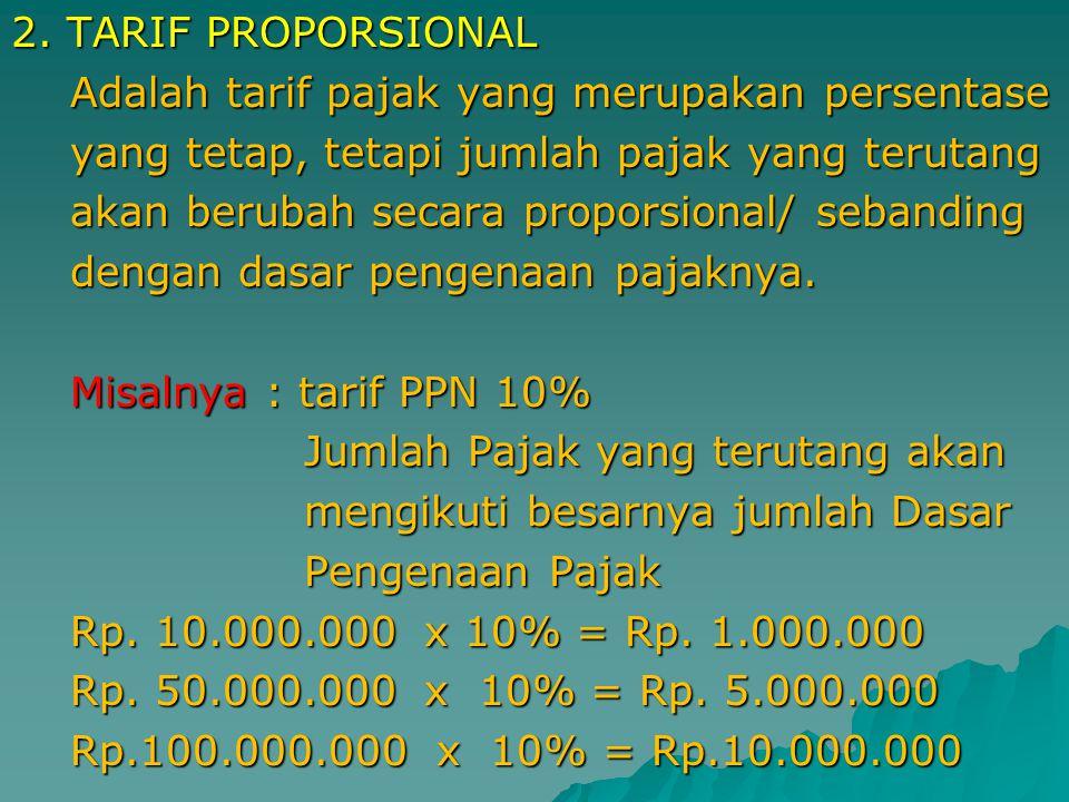 1. TARIF TETAP Adalah tarif pajak yang jumlah nominalnya Adalah tarif pajak yang jumlah nominalnya tetap walaupun dasar pengenaan pajaknya tetap walau