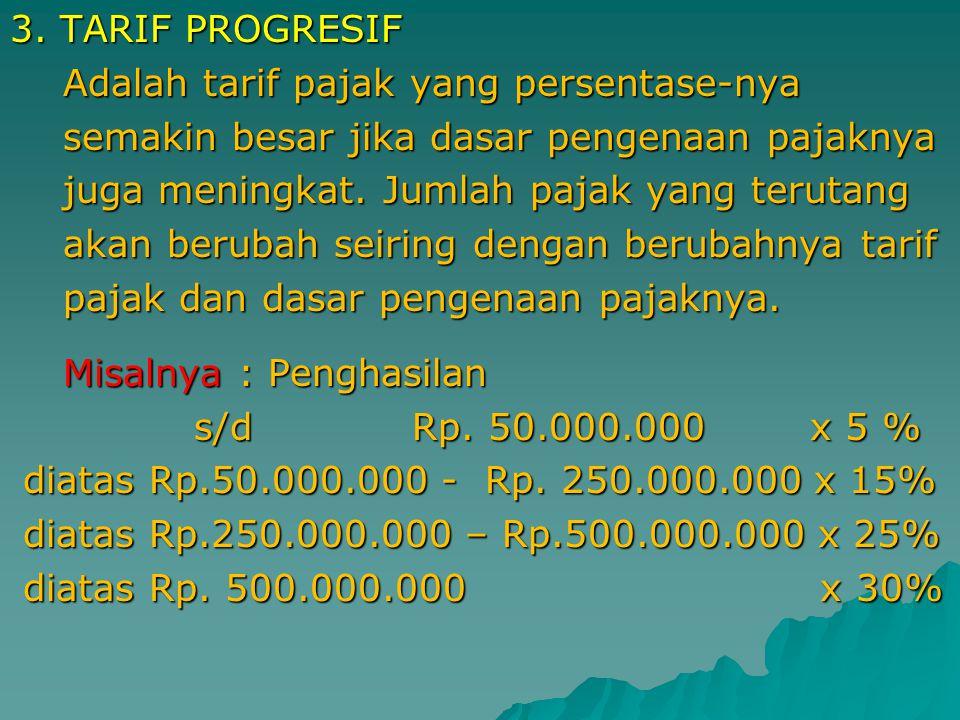 2. TARIF PROPORSIONAL Adalah tarif pajak yang merupakan persentase Adalah tarif pajak yang merupakan persentase yang tetap, tetapi jumlah pajak yang t