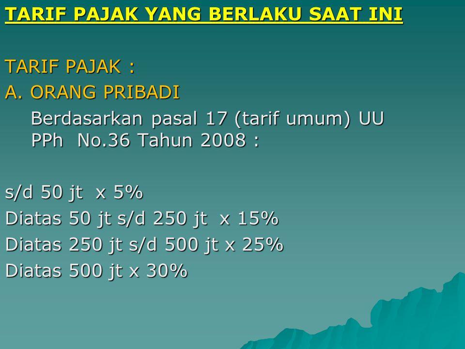 4. TARIF DEGRESIF Semakin besar pendapatan semakin kecil pula pajaknya, persentase lebih kecil dari persentase kenaikan pendapatan. Contoh: Rp. 1.000.