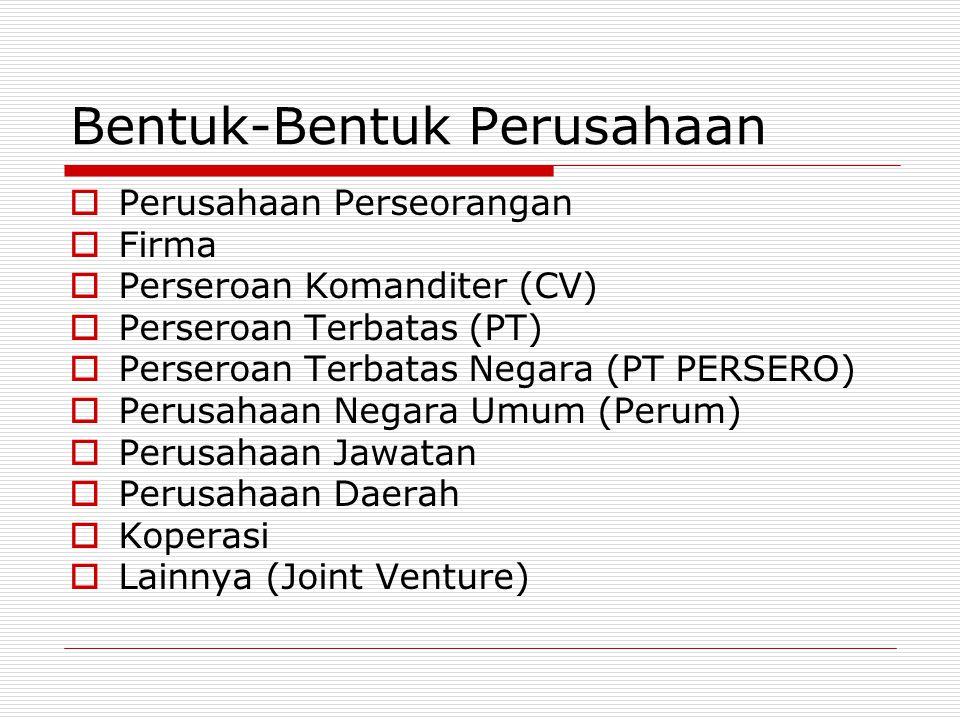 Bentuk-Bentuk Perusahaan  Perusahaan Perseorangan  Firma  Perseroan Komanditer (CV)  Perseroan Terbatas (PT)  Perseroan Terbatas Negara (PT PERSERO)  Perusahaan Negara Umum (Perum)  Perusahaan Jawatan  Perusahaan Daerah  Koperasi  Lainnya (Joint Venture)