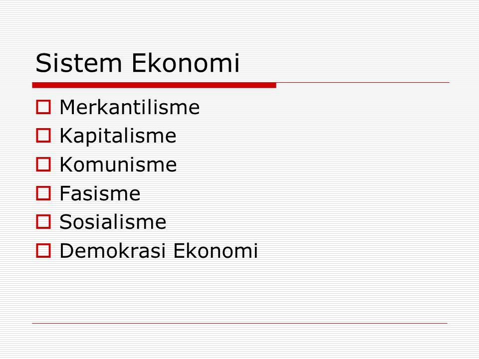 Sistem Ekonomi  Merkantilisme  Kapitalisme  Komunisme  Fasisme  Sosialisme  Demokrasi Ekonomi
