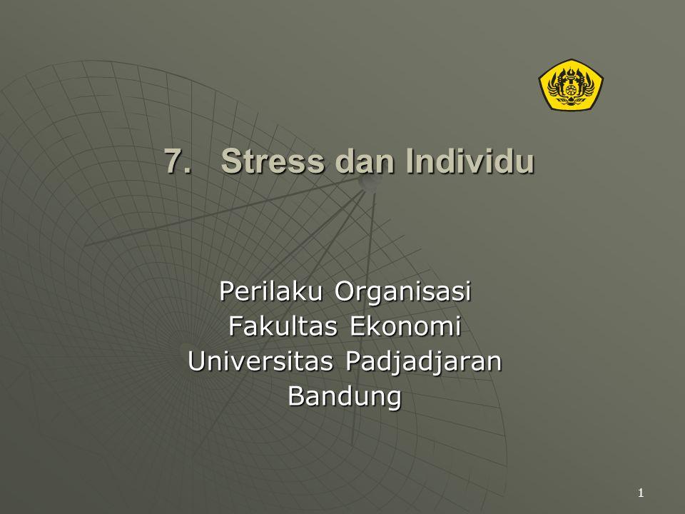 1 7. Stress dan Individu Perilaku Organisasi Fakultas Ekonomi Universitas Padjadjaran Bandung