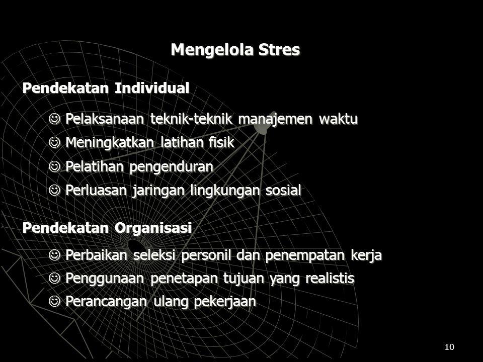 10 Mengelola Stres Pendekatan Individual Pelaksanaan teknik-teknik manajemen waktu Pelaksanaan teknik-teknik manajemen waktu Meningkatkan latihan fisi