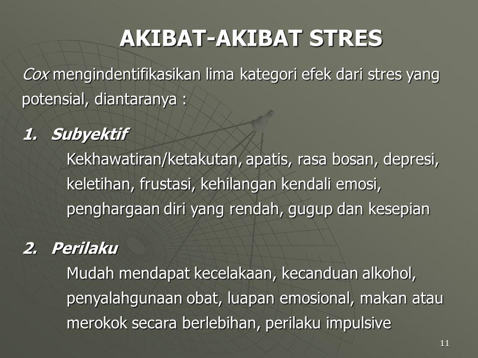 11 AKIBAT-AKIBAT STRES Cox mengindentifikasikan lima kategori efek dari stres yang potensial, diantaranya : 1. Subyektif Kekhawatiran/ketakutan, apati