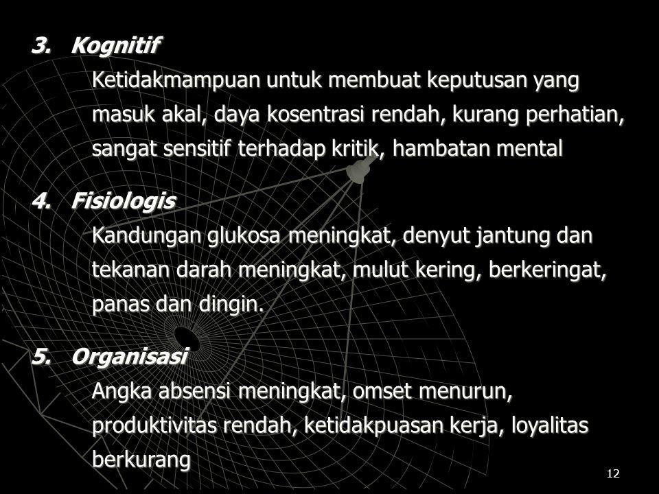 12 3. Kognitif Ketidakmampuan untuk membuat keputusan yang masuk akal, daya kosentrasi rendah, kurang perhatian, sangat sensitif terhadap kritik, hamb