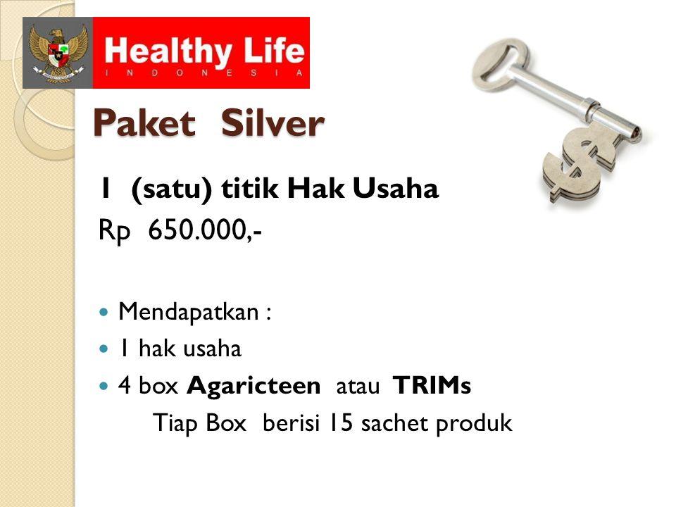 Paket Silver 1 (satu) titik Hak Usaha Rp 650.000,- Mendapatkan : 1 hak usaha 4 box Agaricteen atau TRIMs Tiap Box berisi 15 sachet produk