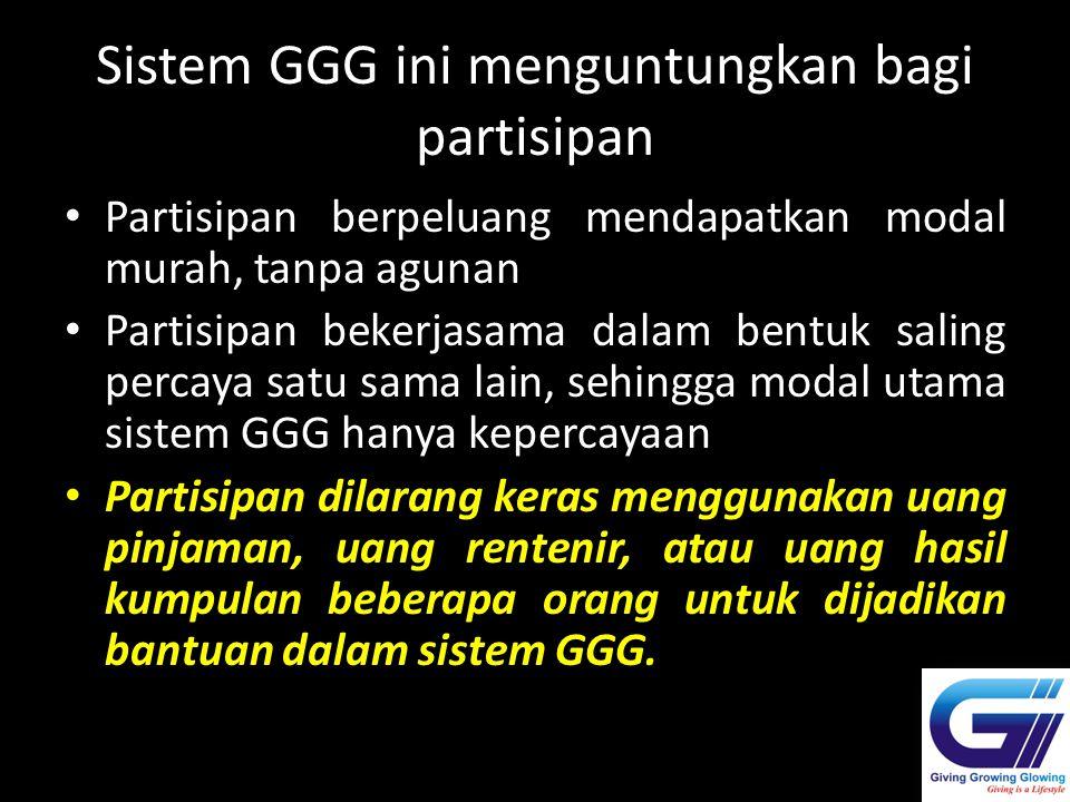 Sistem GGG ini menguntungkan bagi partisipan Partisipan berpeluang mendapatkan modal murah, tanpa agunan Partisipan bekerjasama dalam bentuk saling pe