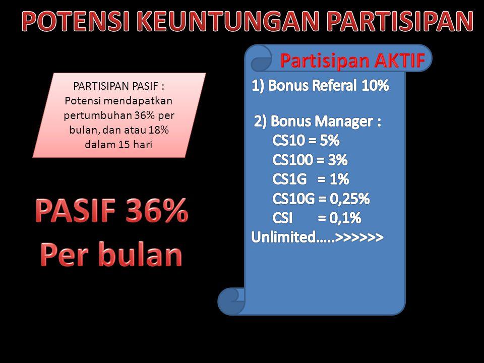 PARTISIPAN PASIF : Potensi mendapatkan pertumbuhan 36% per bulan, dan atau 18% dalam 15 hari PARTISIPAN PASIF : Potensi mendapatkan pertumbuhan 36% pe