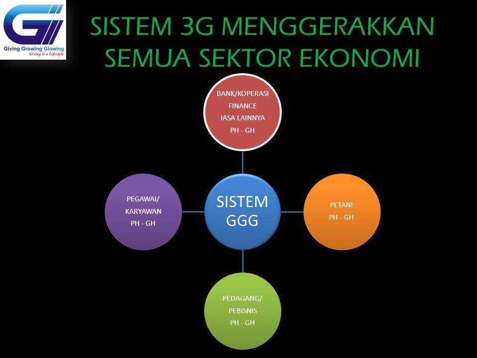 SISTEM 3G MENGGERAKKAN SEMUA SEKTOR EKONOMI Dealer Mobil SISTEM GGG BANK/KOPERASI FINANCE JASA LAINNYA PH - GH PETANI PH - GH PEDAGANG/ PEBISNIS PH -
