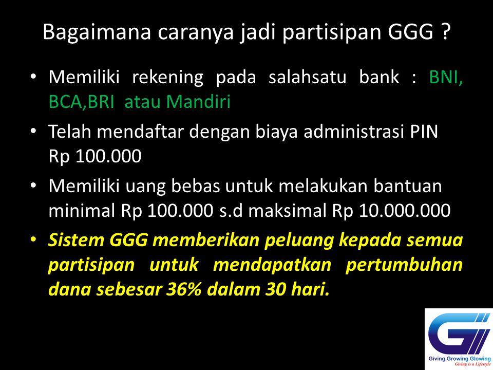 Bagaimana caranya jadi partisipan GGG ? Memiliki rekening pada salahsatu bank : BNI, BCA,BRI atau Mandiri Telah mendaftar dengan biaya administrasi PI