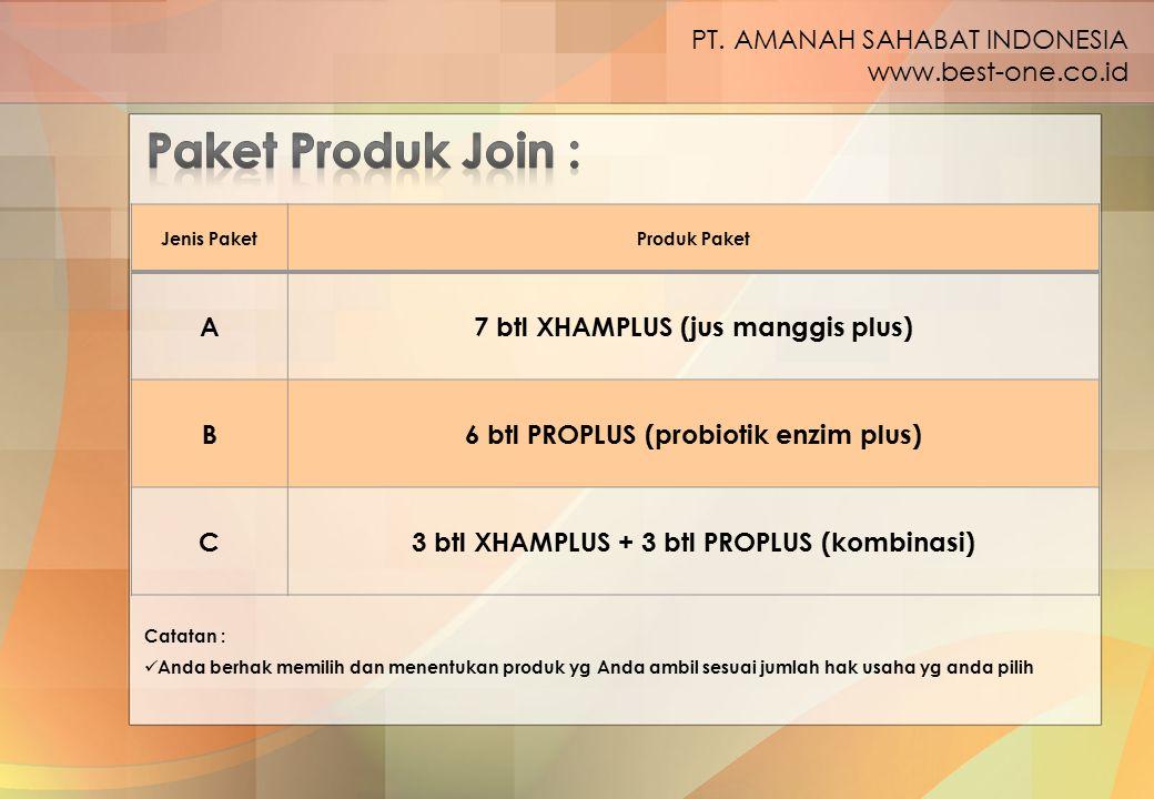Jenis PaketProduk Paket A7 btl XHAMPLUS (jus manggis plus) B6 btl PROPLUS (probiotik enzim plus) C3 btl XHAMPLUS + 3 btl PROPLUS (kombinasi) PT. AMANA