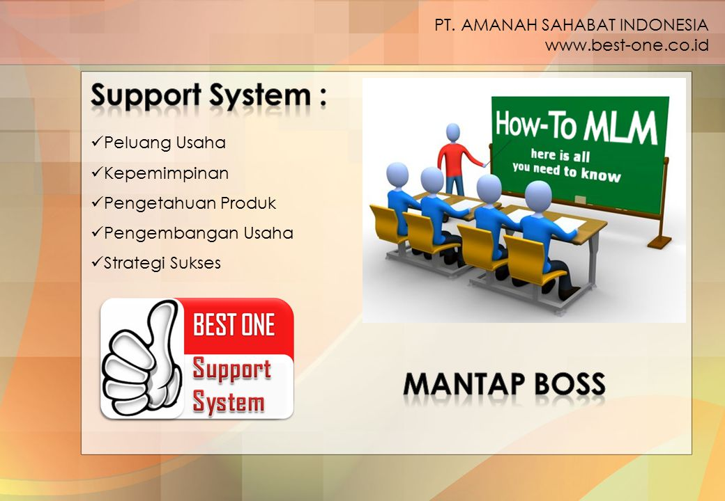 Peluang Usaha Kepemimpinan Pengetahuan Produk Pengembangan Usaha Strategi Sukses PT. AMANAH SAHABAT INDONESIA www.best-one.co.id
