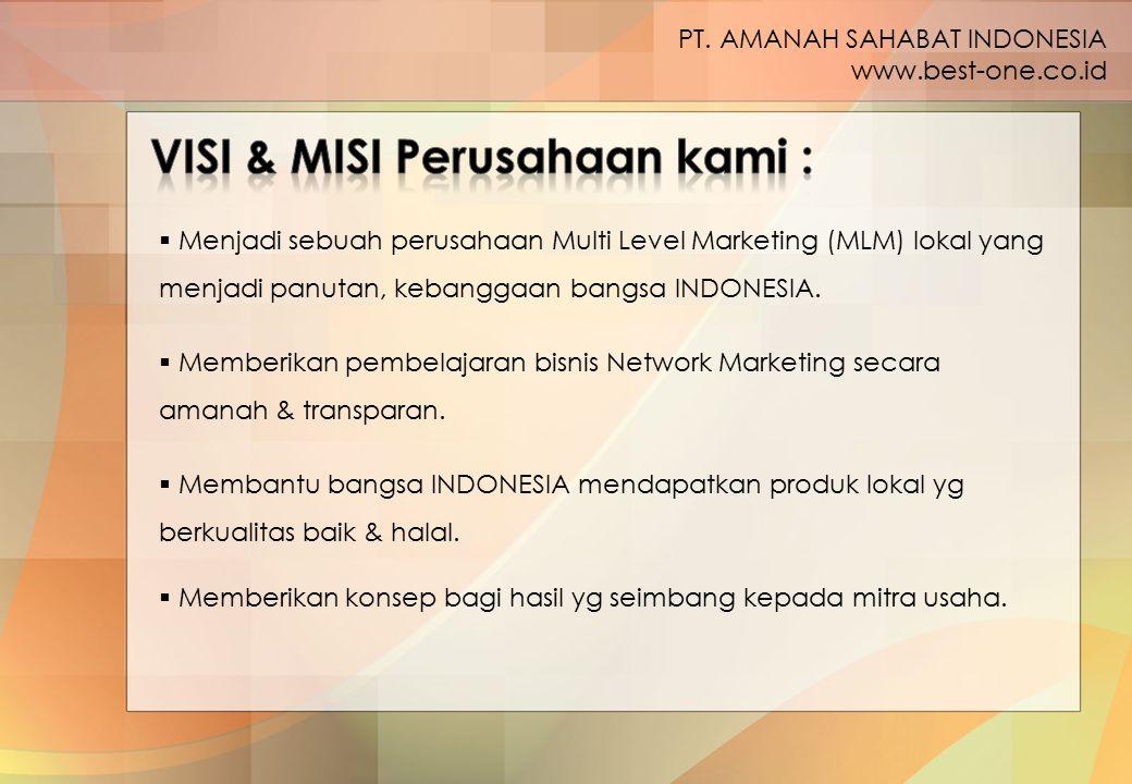  Menjadi sebuah perusahaan Multi Level Marketing (MLM) lokal yang menjadi panutan, kebanggaan bangsa INDONESIA. PT. AMANAH SAHABAT INDONESIA www.best