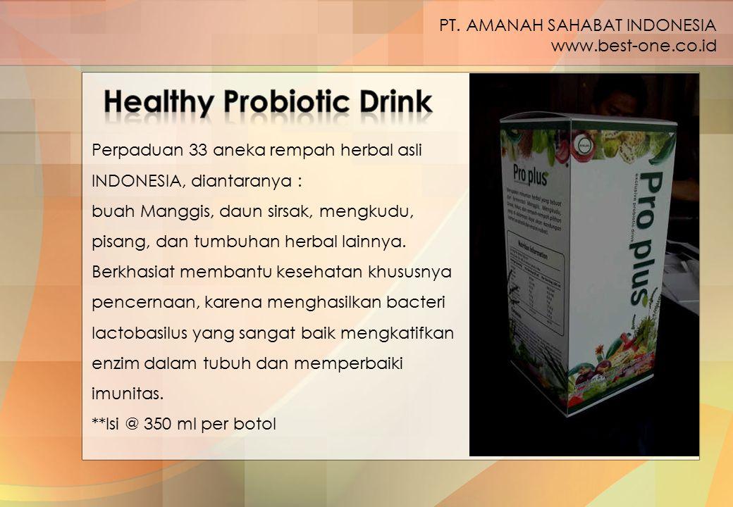 Perpaduan 33 aneka rempah herbal asli INDONESIA, diantaranya : buah Manggis, daun sirsak, mengkudu, pisang, dan tumbuhan herbal lainnya. Berkhasiat me