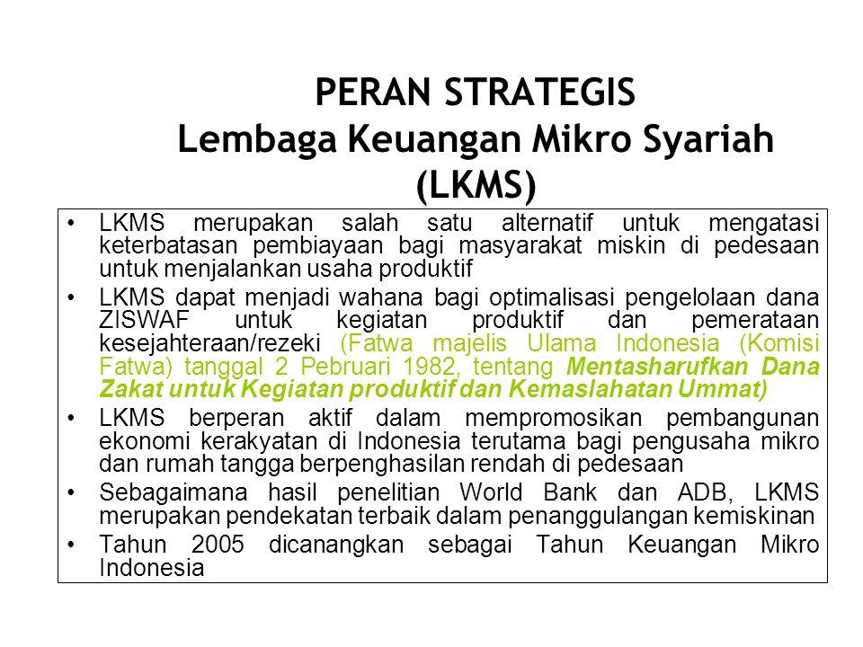 PETA LEMBAGA KEUANGAN MIKRO SYARIAH (LKMS) Jumlah Bank Perkreditan Rakyat Syariah (BPRS): 89 Jumlah Baitul Maal Tamwil:2300 Kopontren:1200 Koperasi Syariah (Kopsyah): 40 Baitul Tamwil Muhammadiyah (BTM): 120 Total:3749 Dari +/- 54,000 LKM, jumlah LKMS +/- hanya 6,44 %