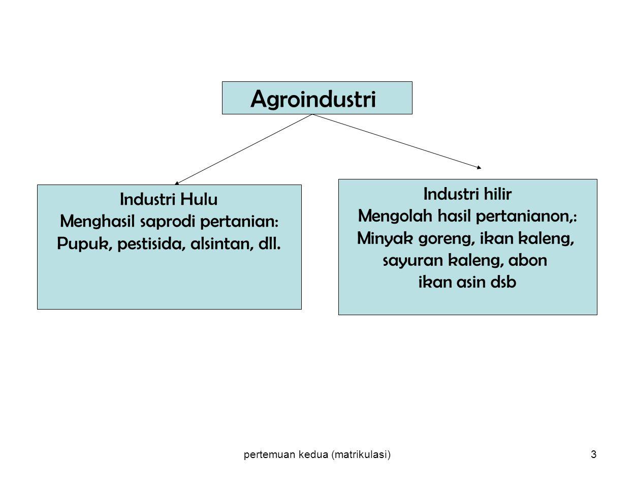 pertemuan kedua (matrikulasi)3 Agroindustri Industri Hulu Menghasil saprodi pertanian: Pupuk, pestisida, alsintan, dll. Industri hilir Mengolah hasil