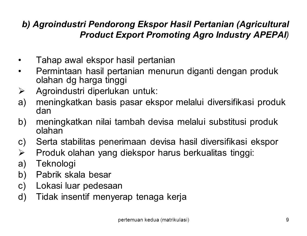 pertemuan kedua (matrikulasi)9 b) Agroindustri Pendorong Ekspor Hasil Pertanian (Agricultural Product Export Promoting Agro Industry APEPAI) Tahap awa