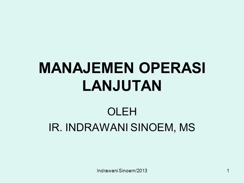 MANAJEMEN OPERASI LANJUTAN OLEH IR. INDRAWANI SINOEM, MS 1Indrawani Sinoem/2013