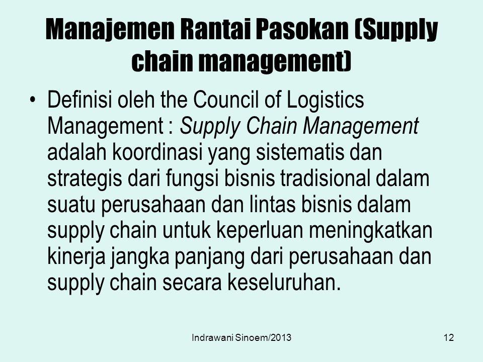 Manajemen Rantai Pasokan (Supply chain management) Definisi oleh the Council of Logistics Management : Supply Chain Management adalah koordinasi yang