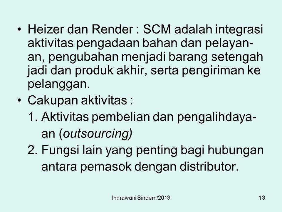 Heizer dan Render : SCM adalah integrasi aktivitas pengadaan bahan dan pelayan- an, pengubahan menjadi barang setengah jadi dan produk akhir, serta pe