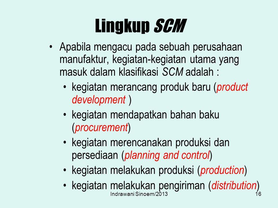 Lingkup SCM Apabila mengacu pada sebuah perusahaan manufaktur, kegiatan-kegiatan utama yang masuk dalam klasifikasi SCM adalah : kegiatan merancang pr