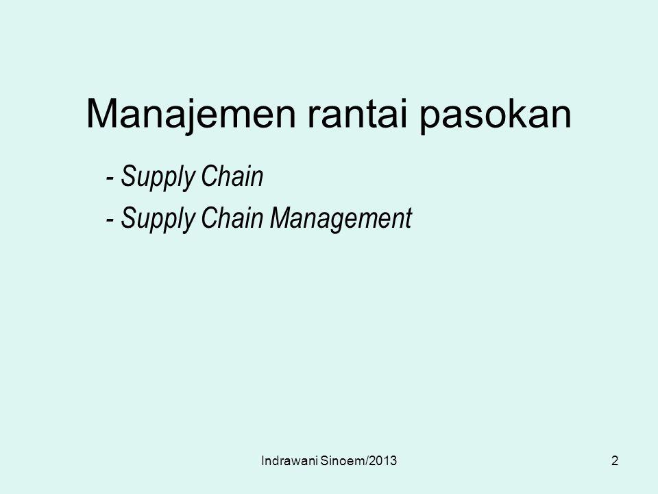Heizer dan Render : SCM adalah integrasi aktivitas pengadaan bahan dan pelayan- an, pengubahan menjadi barang setengah jadi dan produk akhir, serta pengiriman ke pelanggan.