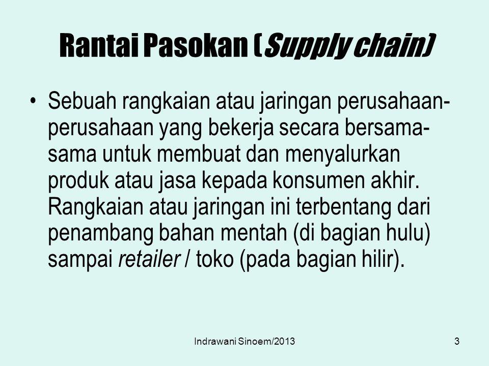 Rantai Pasokan (Supply chain) Sebuah rangkaian atau jaringan perusahaan- perusahaan yang bekerja secara bersama- sama untuk membuat dan menyalurkan pr