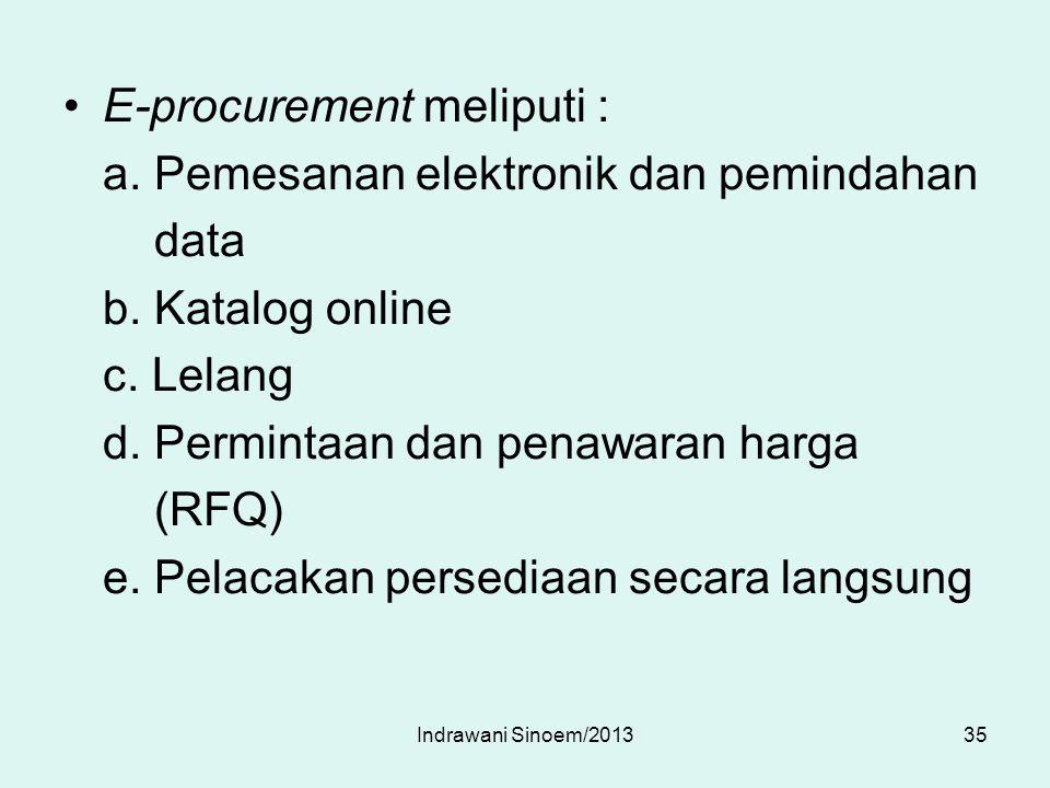 E-procurement meliputi : a. Pemesanan elektronik dan pemindahan data b. Katalog online c. Lelang d. Permintaan dan penawaran harga (RFQ) e. Pelacakan