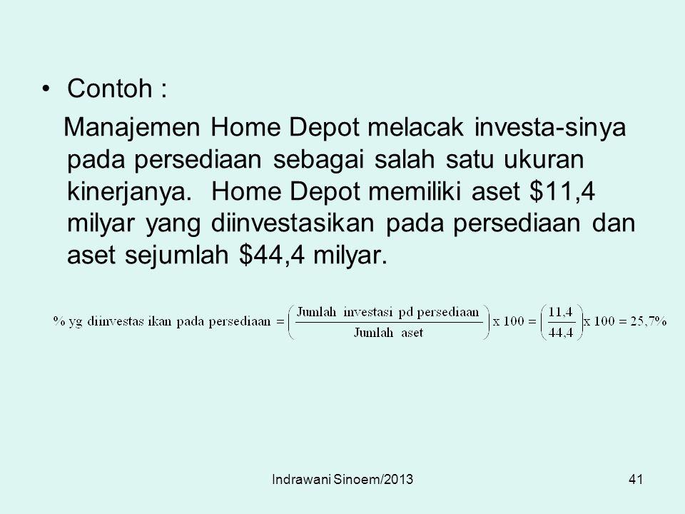 Contoh : Manajemen Home Depot melacak investa-sinya pada persediaan sebagai salah satu ukuran kinerjanya. Home Depot memiliki aset $11,4 milyar yang d