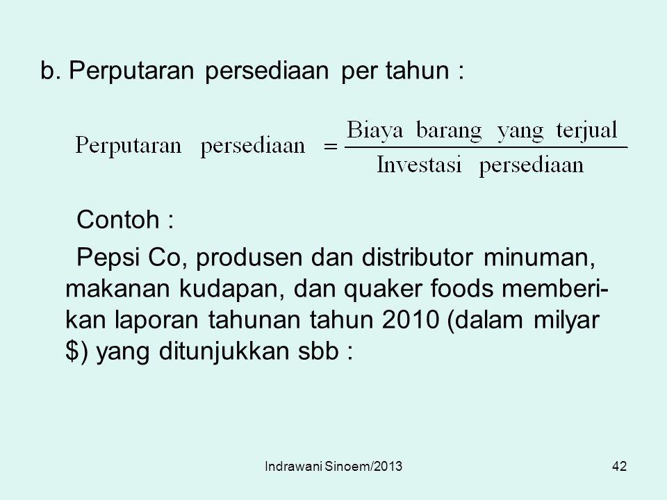 b. Perputaran persediaan per tahun : Contoh : Pepsi Co, produsen dan distributor minuman, makanan kudapan, dan quaker foods memberi- kan laporan tahun