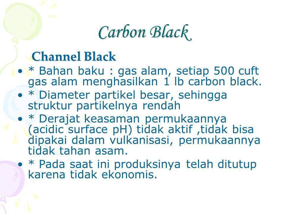 Carbon Black Channel Black * Bahan baku : gas alam, setiap 500 cuft gas alam menghasilkan 1 lb carbon black. * Diameter partikel besar, sehingga struk