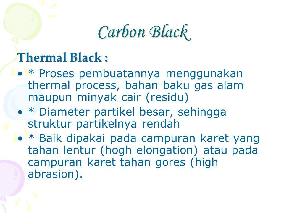 Carbon Black Thermal Black : * Proses pembuatannya menggunakan thermal process, bahan baku gas alam maupun minyak cair (residu) * Diameter partikel be