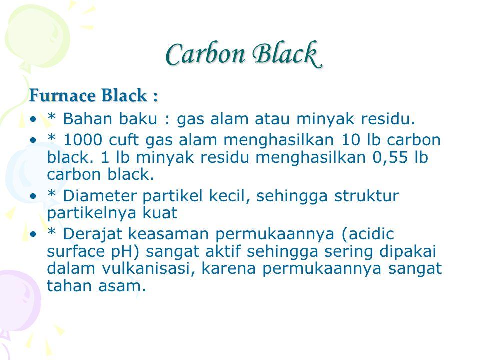 Carbon Black Furnace Black : * Bahan baku : gas alam atau minyak residu. * 1000 cuft gas alam menghasilkan 10 lb carbon black. 1 lb minyak residu meng
