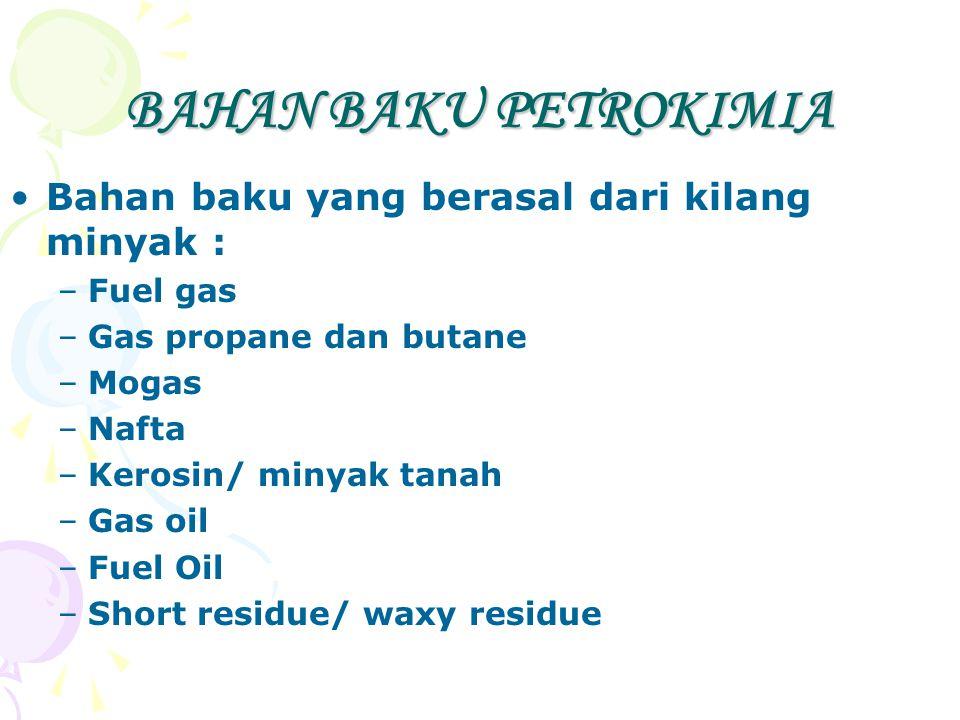 BAHAN BAKU PETROKIMIA Bahan baku yang berasal dari kilang minyak : –Fuel gas –Gas propane dan butane –Mogas –Nafta –Kerosin/ minyak tanah –Gas oil –Fu