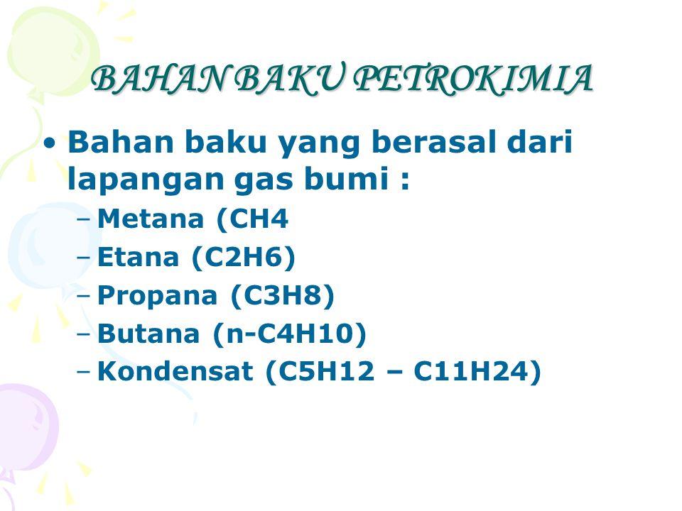 BAHAN BAKU PETROKIMIA Bahan baku yang berasal dari lapangan gas bumi : –Metana (CH4 –Etana (C2H6) –Propana (C3H8) –Butana (n-C4H10) –Kondensat (C5H12