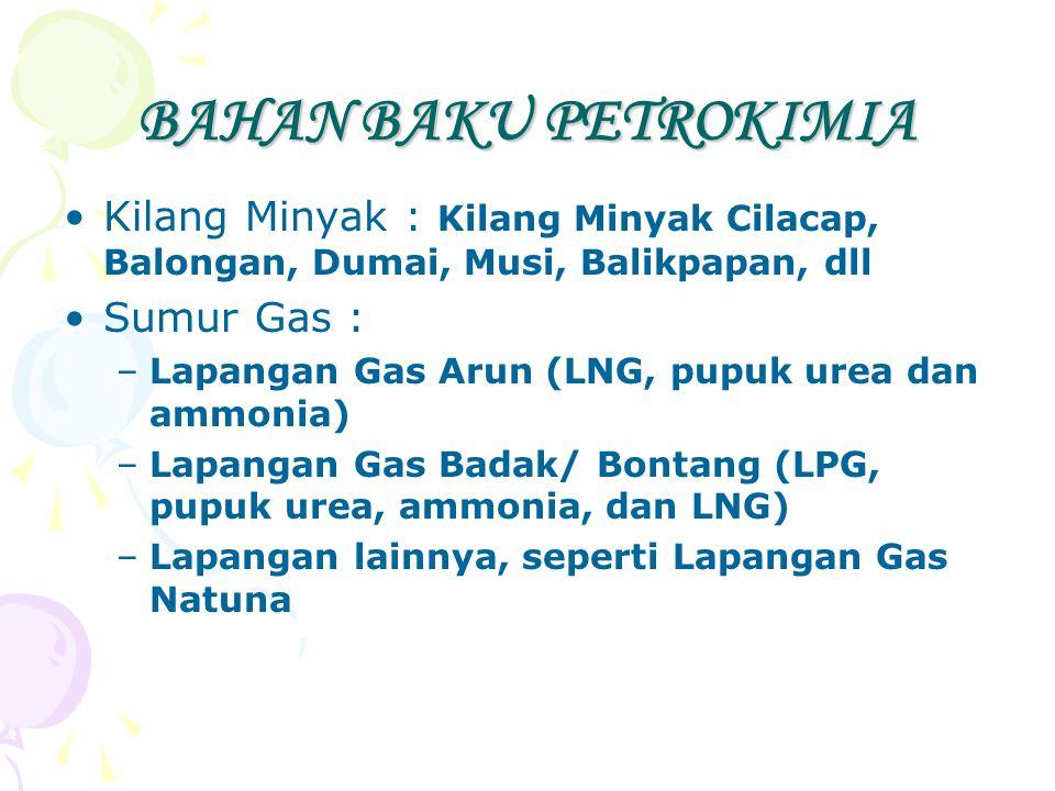 BAHAN BAKU PETROKIMIA Kilang Minyak : Kilang Minyak Cilacap, Balongan, Dumai, Musi, Balikpapan, dll Sumur Gas : –Lapangan Gas Arun (LNG, pupuk urea da