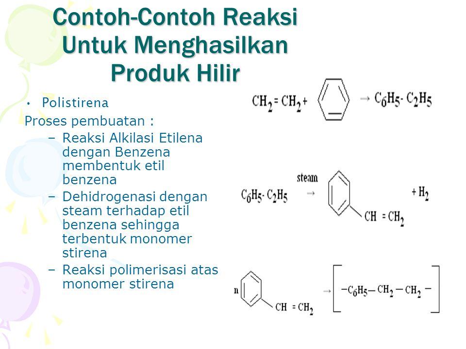 Contoh-Contoh Reaksi Untuk Menghasilkan Produk Hilir Polistirena Proses pembuatan : –Reaksi Alkilasi Etilena dengan Benzena membentuk etil benzena –De