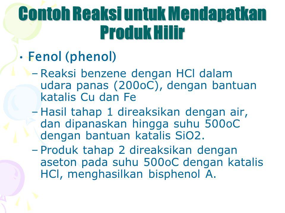 Contoh Reaksi untuk Mendapatkan Produk Hilir Fenol (phenol) –Reaksi benzene dengan HCl dalam udara panas (200oC), dengan bantuan katalis Cu dan Fe –Ha