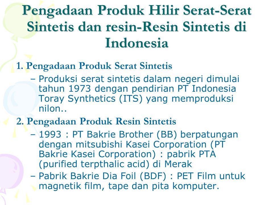 Pengadaan Produk Hilir Serat-Serat Sintetis dan resin-Resin Sintetis di Indonesia 1. Pengadaan Produk Serat Sintetis –Produksi serat sintetis dalam ne