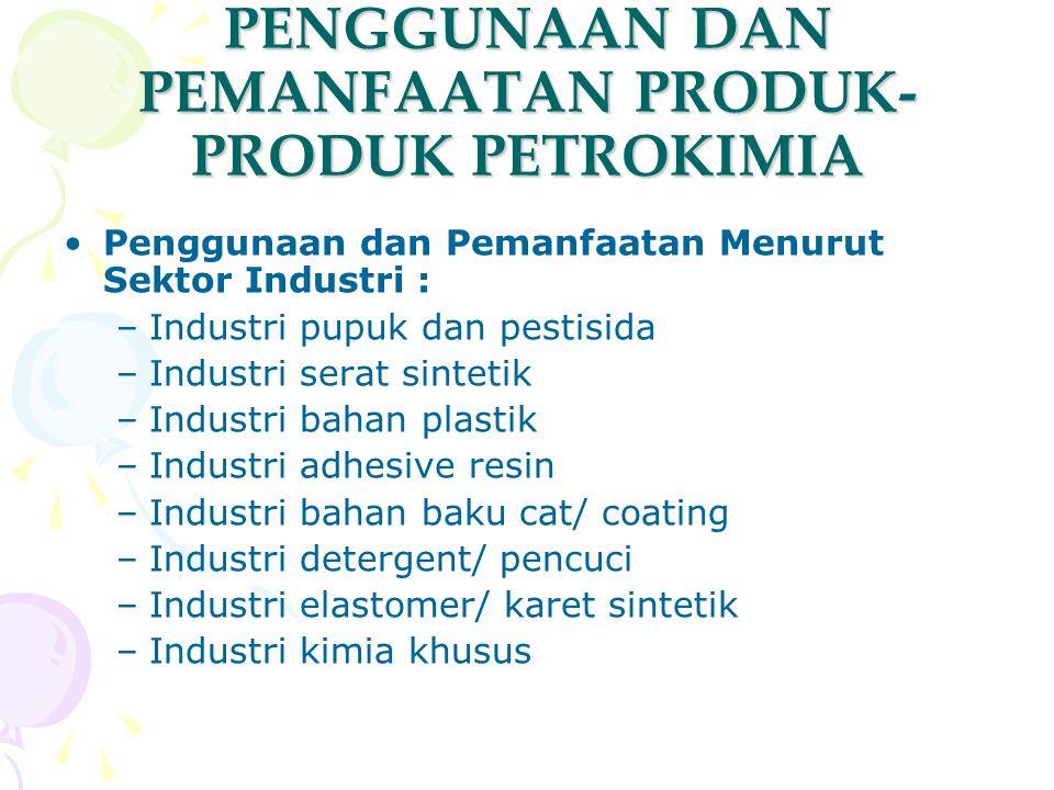 PENGGUNAAN DAN PEMANFAATAN PRODUK- PRODUK PETROKIMIA Penggunaan dan Pemanfaatan Menurut Sektor Industri : –Industri pupuk dan pestisida –Industri sera
