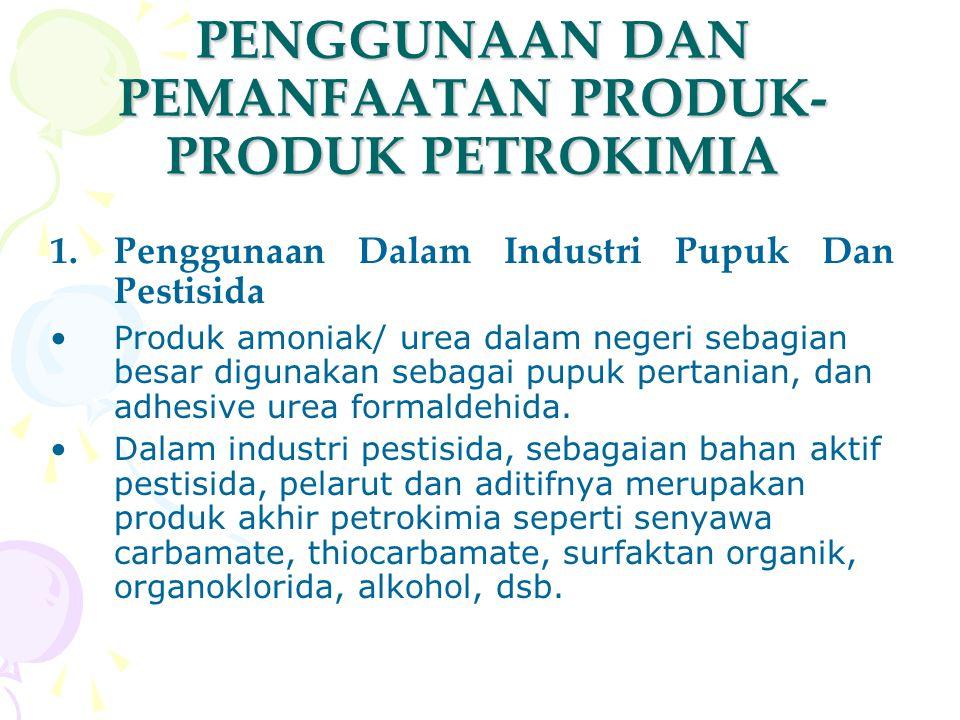 PENGGUNAAN DAN PEMANFAATAN PRODUK- PRODUK PETROKIMIA 1.Penggunaan Dalam Industri Pupuk Dan Pestisida Produk amoniak/ urea dalam negeri sebagian besar
