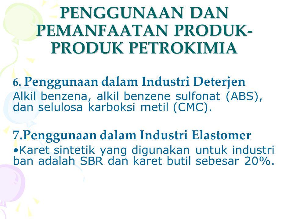 PENGGUNAAN DAN PEMANFAATAN PRODUK- PRODUK PETROKIMIA 6. Penggunaan dalam Industri Deterjen Alkil benzena, alkil benzene sulfonat (ABS), dan selulosa k